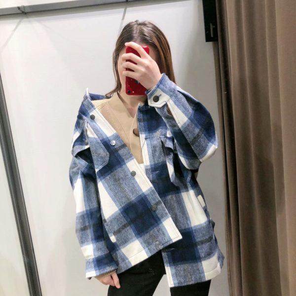 Manteau à Carreaux - Nouvelle Collection Site Vêtements Bleu S