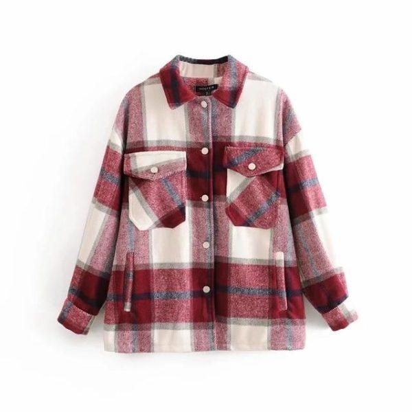 Manteau à Carreaux - Nouvelle Collection Site Vêtements Rouge et Gris L