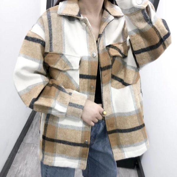 Manteau à Carreaux - Nouvelle Collection Site Vêtements Beige S