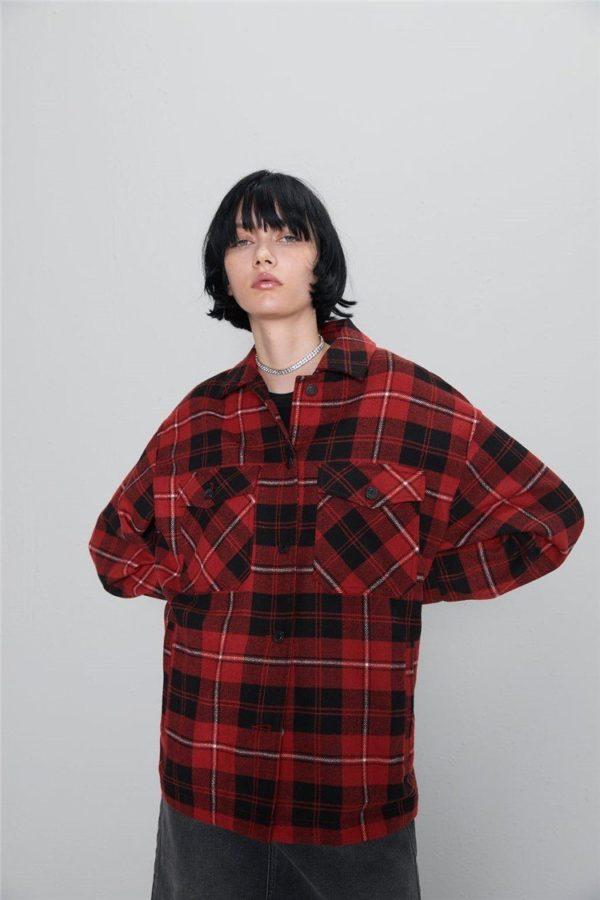 Manteau à Carreaux - Nouvelle Collection Site Vêtements Rouge S
