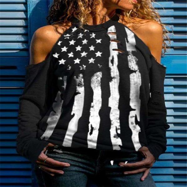 T-shirt Manches Longues à Épaules Dénudées Site Vêtements Noir M