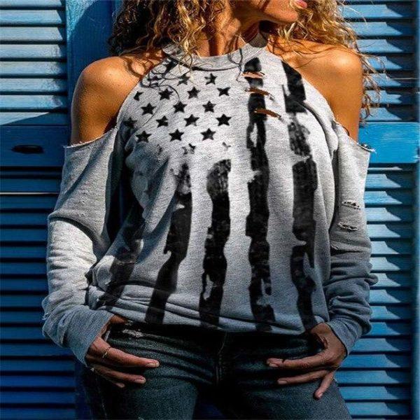T-shirt Manches Longues à Épaules Dénudées Site Vêtements Gris S