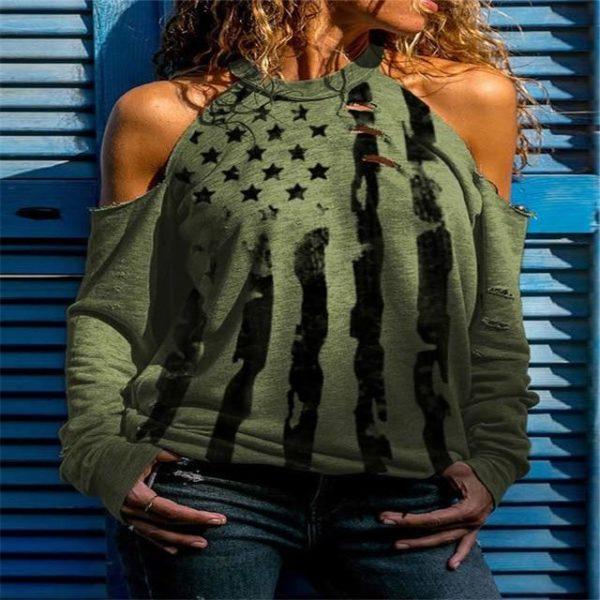 T-shirt Manches Longues à Épaules Dénudées Site Vêtements Vert XL