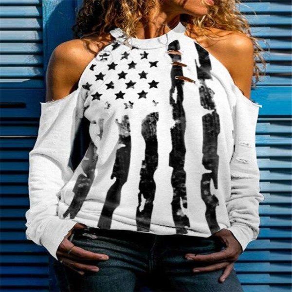 T-shirt Manches Longues à Épaules Dénudées Site Vêtements Blanc XXXL