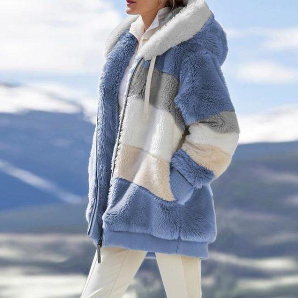 Manteau Multicolore à Capuche Site Vêtements blue L