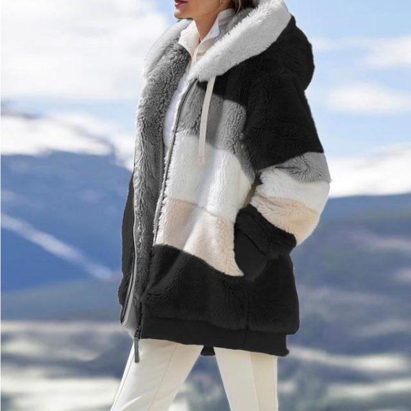 Manteau Multicolore à Capuche Site Vêtements black 5XL