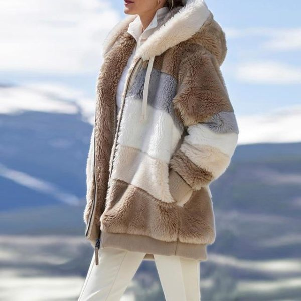 Manteau Multicolore à Capuche Site Vêtements brown L
