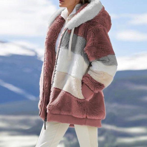Manteau Multicolore à Capuche Site Vêtements pink L
