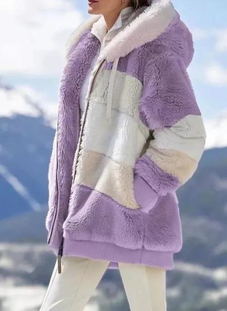 Manteau Multicolore à Capuche Site Vêtements purple 3XL