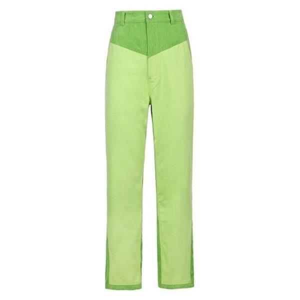 Pantalon Vintage en Velours Site Vêtements Vert 2 S