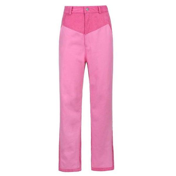 Pantalon Vintage en Velours Site Vêtements Rose 2 S