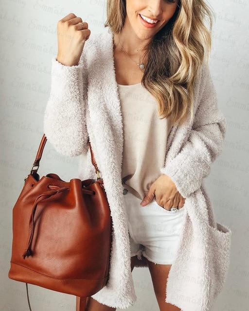 Cardigan Ample Tricoté Site Vêtements Blanc XL
