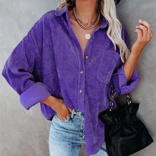 Chemisier Casual Côtelé Site Vêtements Violet L