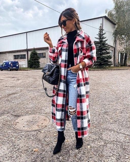 Manteau Long à Carreaux Site Vêtements Rouge XL