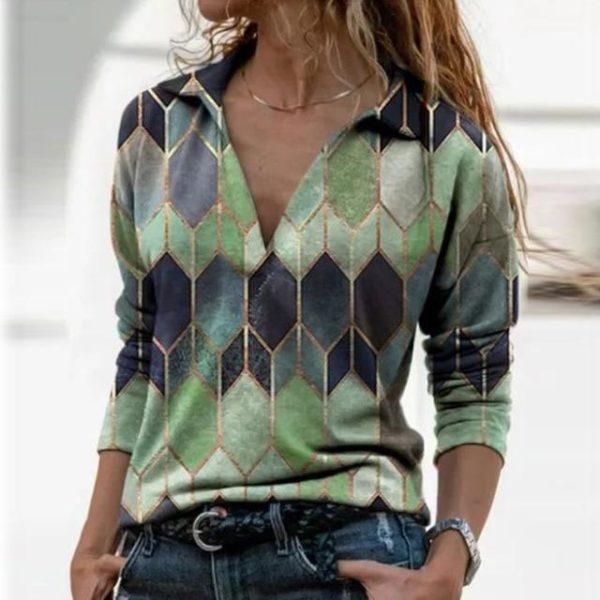 Blouse Vintage à Col en V Site Vêtements Vert XXXL