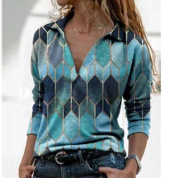 Blouse Vintage à Col en V Site Vêtements Bleu Ciel XXXL