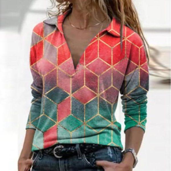 Blouse Vintage à Col en V Site Vêtements Rose XXXL