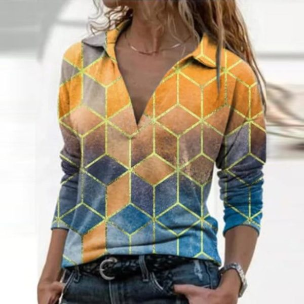 Blouse Vintage à Col en V Site Vêtements Jaune XXL