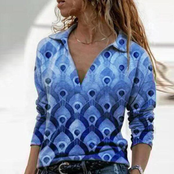Blouse Vintage à Col en V Site Vêtements Bleu L