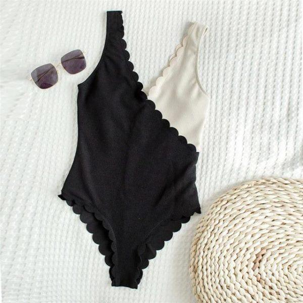 Maillot de Bain Deux Tons Site Vêtements Noir - Beige S
