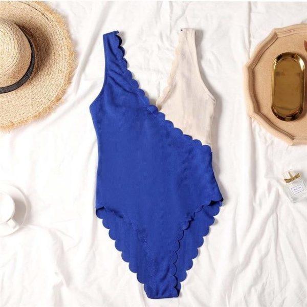 Maillot de Bain Deux Tons Site Vêtements Bleu - Beige XL