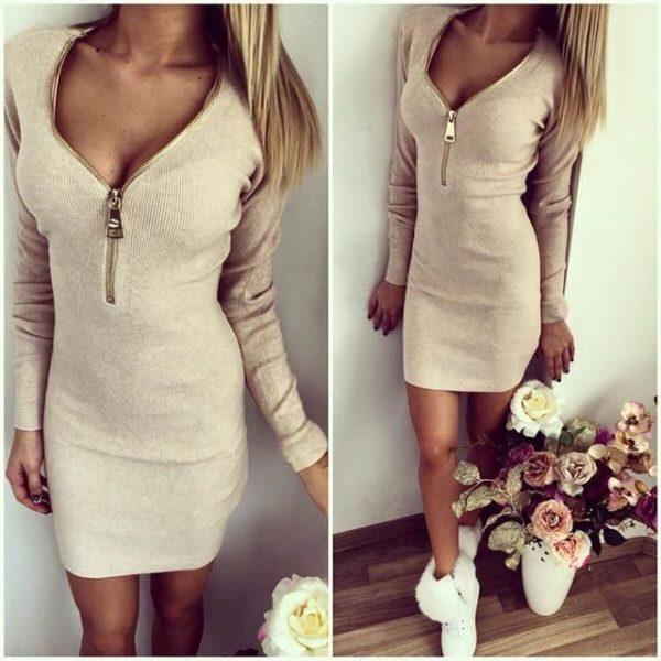 Robe Pull Zippée Site Vêtements Beige S