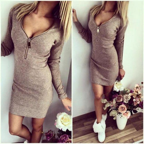 Robe Pull Zippée Site Vêtements Gris XL