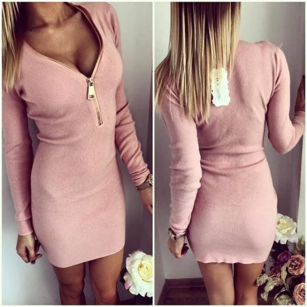 Robe Pull Zippée Site Vêtements Rose S