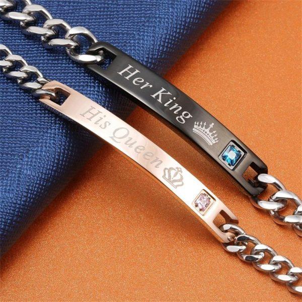 """product image 249301487 Duo De Bracelets Amoureux """"Son Roi, Sa Reine"""""""