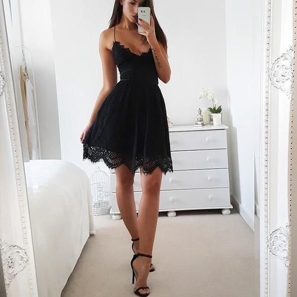 Petite Robe Dentelle Minute Mode Noir L