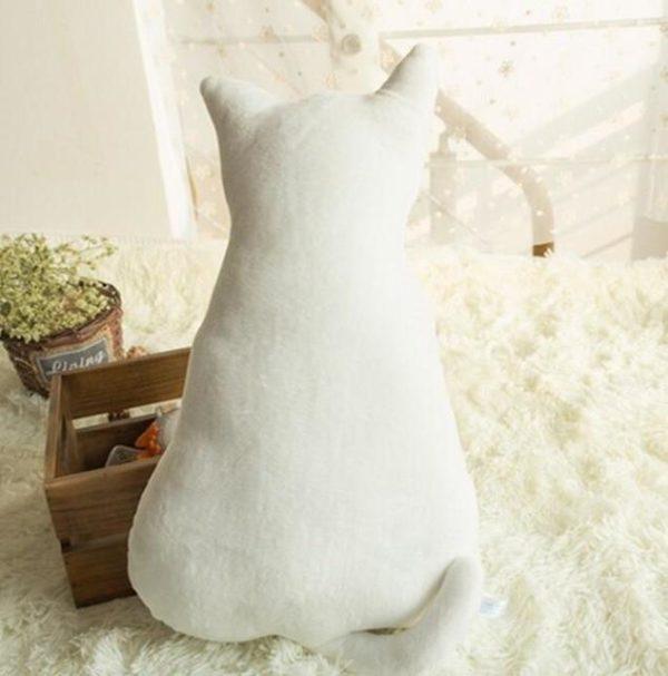 Coussins Doux et Confortables en Peluche en Forme de Chat raton-malin blanc