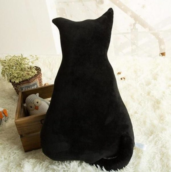 Coussins Doux et Confortables en Peluche en Forme de Chat raton-malin noir