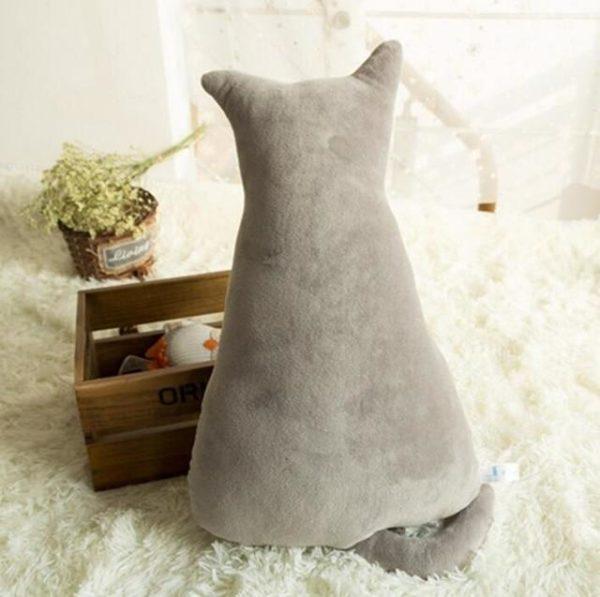 Coussins Doux et Confortables en Peluche en Forme de Chat raton-malin gris