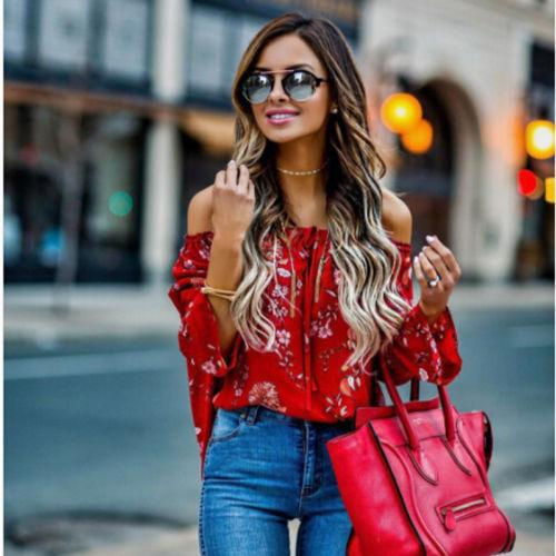 Blouse Rouge Fleurie Minute Mode Rouge S
