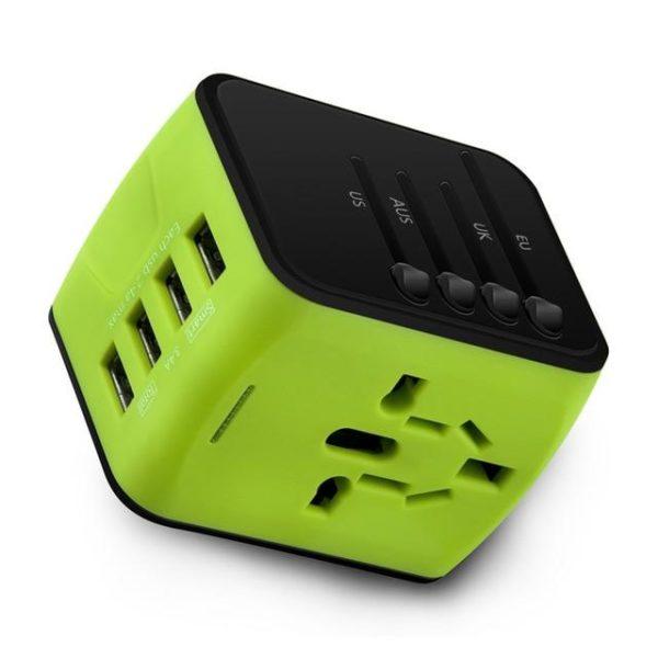 Adaptateur De Voyage Universel Charge Rapide Avec Ports USB Type C Raton Malin Vert
