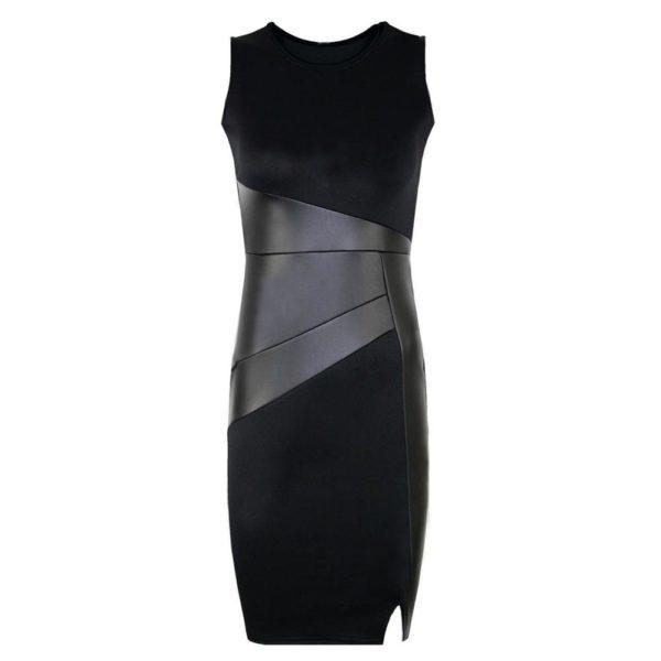 product image 571261567 Robe Noire Avec Détails Effet Cuir