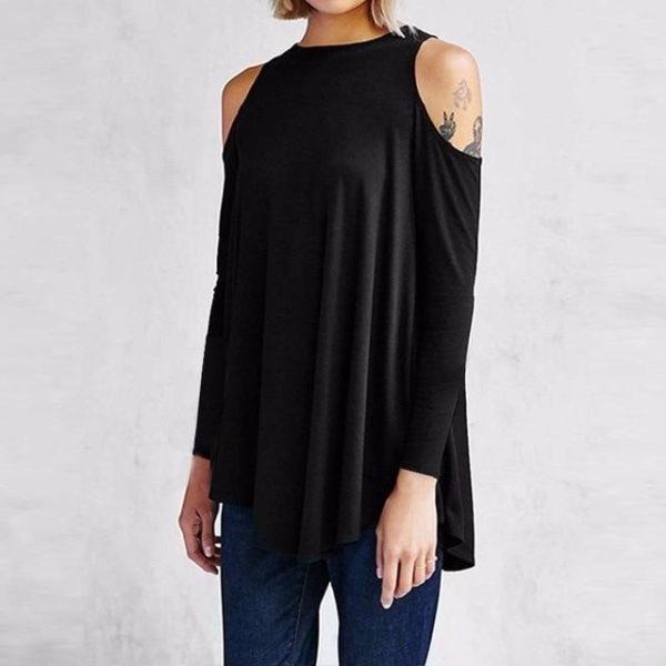 Blouse Simple Épaules dénudées Minute Mode Noir S