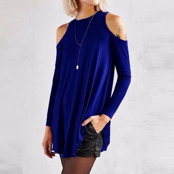 Blouse Simple Épaules dénudées Minute Mode Bleu S