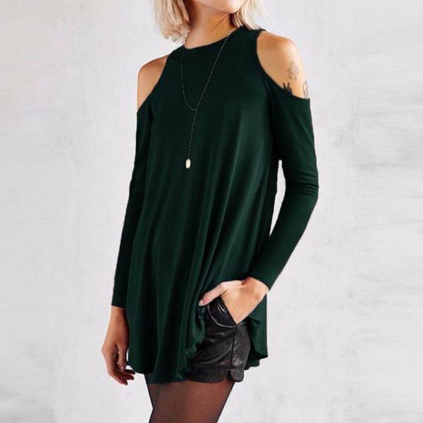 Blouse Simple Épaules dénudées Minute Mode Vert S