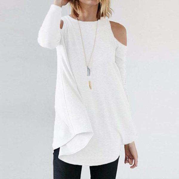 Blouse Simple Épaules dénudées Minute Mode Blanc S