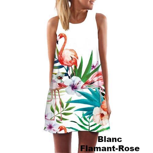 Robe Imprimée Sans Manches Minute Mode Blanc Flamant Rose S