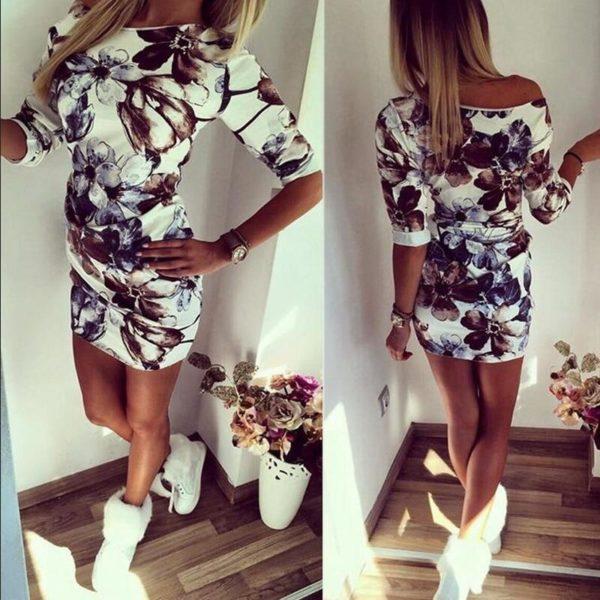 Superbe Robe Florale Minute Mode Blanc L