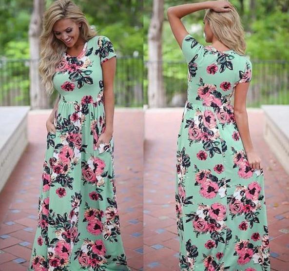 Longue Robe Florale Minute Mode Vert S