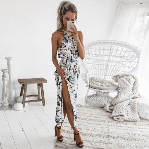 Robe Florale Sans Manches Minute Mode Blanc L