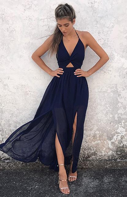 Robe Longue Boho Minute Mode Bleu Marine L