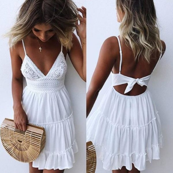 Petite Robe Légère Nouée Minute Mode Blanc S