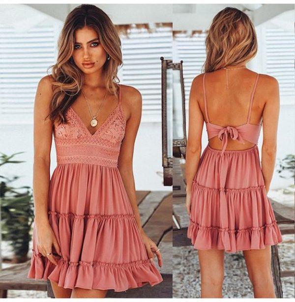 Petite Robe Légère Nouée Minute Mode Rose S