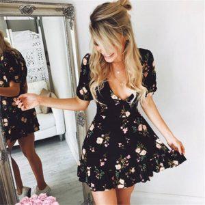 Mini Robe Florale Minute Mode Noir S