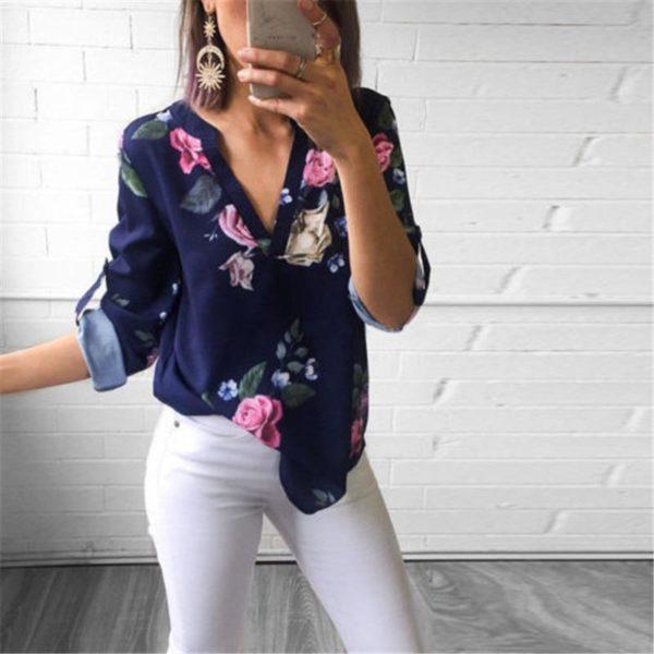 Blouse Florale Tendance Minute Mode Bleu Fleurs S