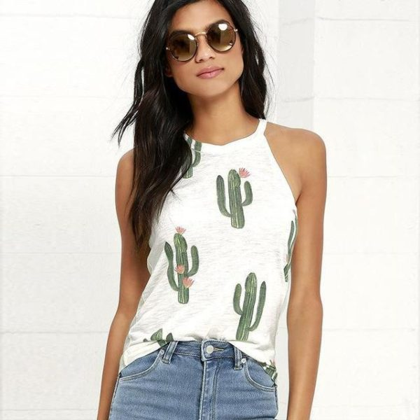 Top Imprimé Cactus Minute Mode Blanc L